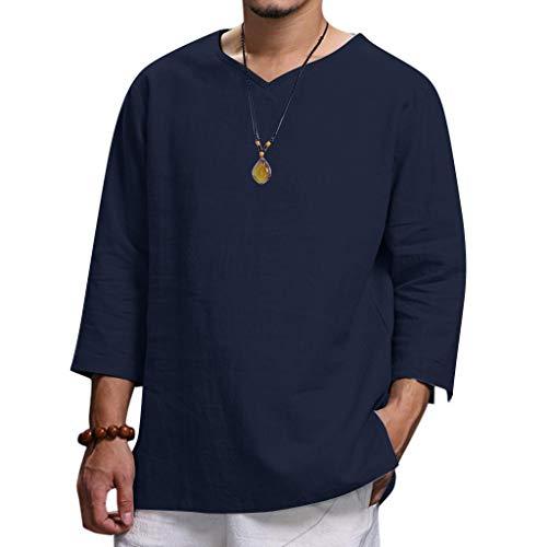 Freizeithemden Herren, Dasongff V-Ausschnitt 3/4 Ärmeln Leinenshirt Lose Bequeme Fischerhemden Yoga Top Bluse Freizeit Thai Hippie Hemd Einfarbig T-Shirts Freizeit Sweatshirt