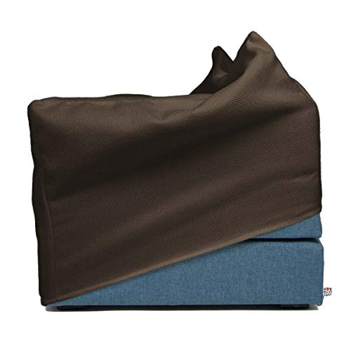 Arketicom Italian Faltmatratze TOUF, The Bed That Becomes a Puff, Blue Jeans Fabric Base and External Cover Brown 80x63x45 cm Artisans Italian Product 100% Hand Made