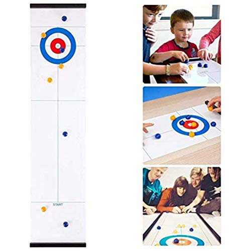 Ahagut Tabletop Curling 2 en 1 Plegable Curling and Shuffleboard Juego de Mesa Divertido para niños y Adultos