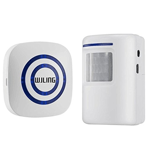 WJLING Home Security Alarm, Wireless Driveway Alert: Infrared Motion Sensor Chime with 1 Receiver and 1 Sensor -38 Chime Tunes - LED Indicators