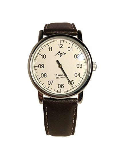 Mechanische Einzeiger-Armbanduhr LUCH 77471146 für Herren, Chrom, runde Form, Mineralglas, Leder