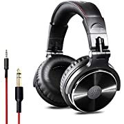 OneOdio Over Ear Headphone Studio Wired Bass Headsets with 50mm Driver, Foldable Lightweight Headphones with Shareport and Mic for DJ Recording Monitoring Mixing Podcast Guitar PC TV