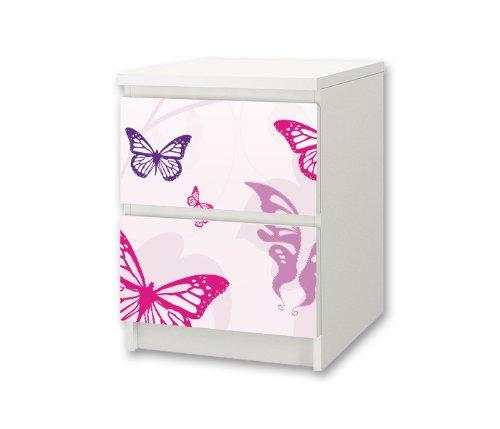 Stikkipix Butterfly möbelklistermärke/dekal för barnkammare kommode/sängbord MALM från IKEA – NS01 – möbel ingår ej