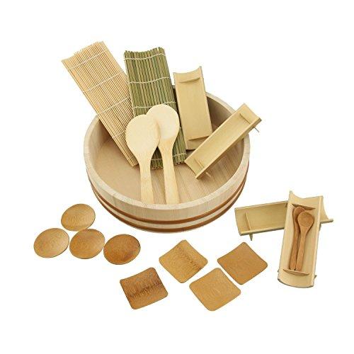 BambooImportsMN 12 Sushi Oke Tub (Hangiri) with 19pc Sushi Making Accessory Pack by BambooMN