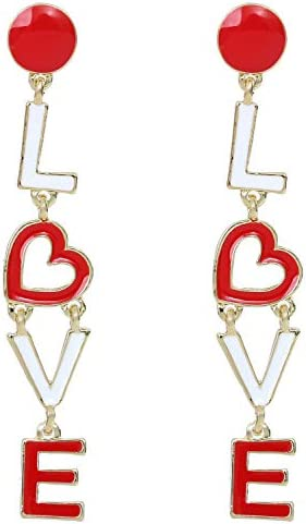 Love Dangle Earrings for Women Heart Fashionable Love Earrings Many Colors to Choose from product image
