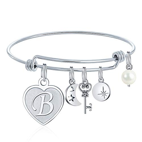 M MOOHAM Charms Bracelet for Women Initials - Engraved B Initial Bracelet with Heart Charm, Silver Handmade Womens Letter Expandable Bangle Bracelet Birthday Jewelry Gifts for Women Teen Girls