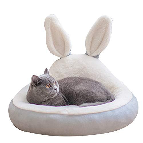 BLEVET Cama para Mascotas, Suave Redondo Gato Dormido Cama Pequeña Perro Cama MZ121 (S: 50CM, Grey)