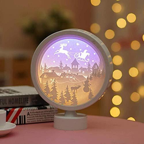 GEZHF Papercut Light 3D Round Shape Shadow Box Led Night Lamp USB y funciona con pilas Luz decorativa de estado de ánimo para niños y adultos (color 4)-Estilo 6