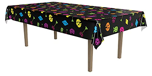 Totally 80's Gamer Plastic Tablecloth. This 8-bit themed plastic tablecover can be wiped clean and re-used. It features brightly-coloured illustrations and measures approximately 54 inches x 108 inches (137cm x 274cm).