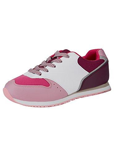 oodji Ultra Mujer Zapatillas Multicolores de Materiales Combinados, Rojo, 41 EU / 7 UK