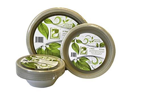 """Earth's Natural Alternative Fiber Tableware Combo with 7"""", 11.5oz Bowls, and 9"""" Plates 20 of Each, 60 Pieces, 1"""