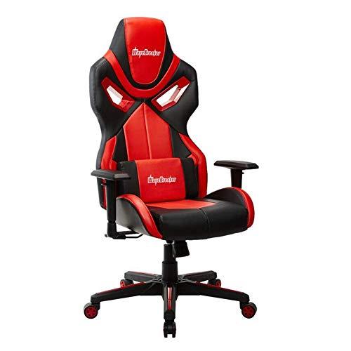 HRYBD Bureaustoel, racing-stijl, voetensteun en zwenkklik, design, lederen zitting, geschikt voor hotel, kantoor, slaapkamer, computerstoel