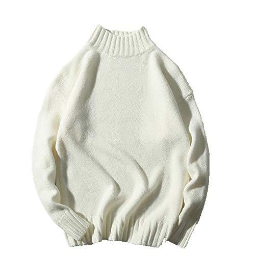 Collar de los Hombres Suéter de Color Sólido de Manga Suelta Suéteres de los Hombres Casual Suéter de