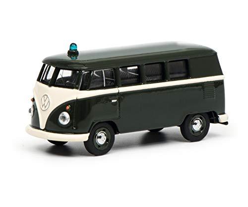 Schuco 452015400 VW T1 bus politie 1:64, donkergroen, wit, schaal
