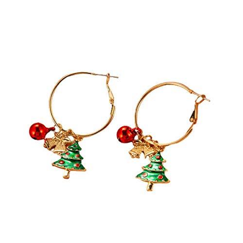 Boucles d'oreilles pendantes en forme de flocon de neige pour sapin de Noël avec cloches de Père Noël percées crochet pour femmes filles