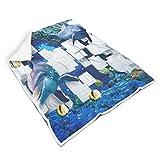 TengmiuXin Blauer Ozean-Seefisch geschmeidig quadratische Decken für Zimmer Sorgfältige Verarbeitung für Baby oder Erwachsene Sonnenscheinstil White 130x150cm