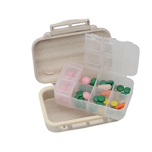 Portable Travel Pill Box Waterproof, Small Pocket Pill Case, Natural Grain...