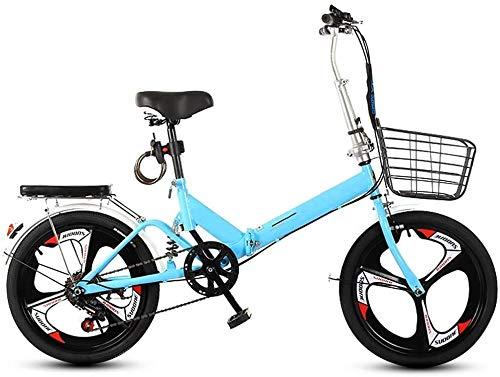 20 Pulgadas Bicicleta Bici Ciudad Plegables Adulto Hombre Mujer, Bicicleta de Montaña Btt MTB Ligero Folding Mountain City Bike Doble Suspension Bicicleta Urbana Portátil, H050ZJ