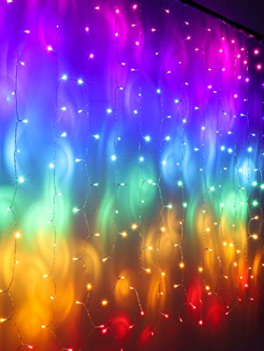 Rainbow Fairy String Curtain Lights with Touch Dimmer Switch, Hanging LED Icicle Rainbow Lights Curtain for Girls Bedroom, Teen Room, Kids Room, Unicorn Room, Birthday, Holiday Décor (Rainbow)
