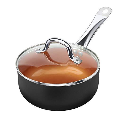 SHINEURI 5 Pieces Nonstick Copper Cookware Pans and Pots Set - 8 inch Frying Pan, 1.5 qt Saucepan...