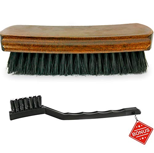 TAKAVU 6.7' Leather & Textile Cleaning Brush, Durable Soft Nylon Bristles, Free Detailing Brush, Unique Concave Design Wood Handle for Car Interior Seat Carpet Upholstery Couch Furniture Boots Shoes