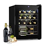Klarstein Shiraz Slim Weinkühlschrank - Energieeffiezienzklasse A, 5-18 °C, 42 dB, Soft-Touch-Bedienfeld, LED-Beleuchtung, freistehend, 3 Regaleinschübe, 42 Liter, für 16 Flaschen Wein, schwarz