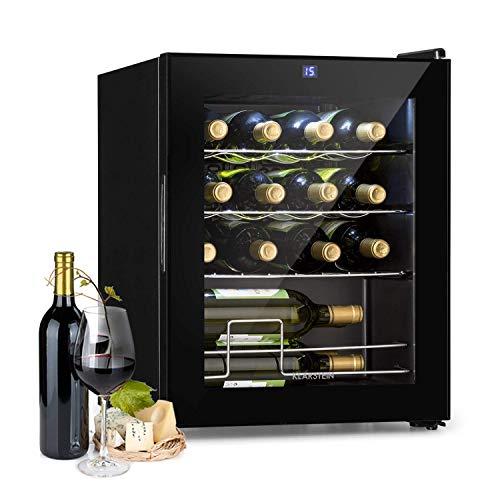 KLARSTEIN Shiraz Slim - Frigorifero per Vini, Cantinetta, Classe Energetica A, 5-18 °C, 42 dB, Pannello Soft-Touch, Luce LED, Posizionamento Libero, 3 Ripiani, 42 Litri, per 16 Bottiglie, Nero
