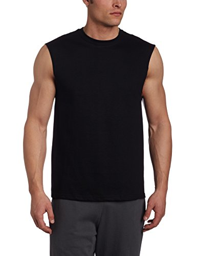 Russell Athletic Men's Cotton Basic Muscle,Basic Black,Large