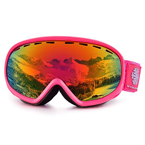 Kids Ski Goggles, Youth Skiing Goggles, Double Lens Anti Fog 100% UV Protection