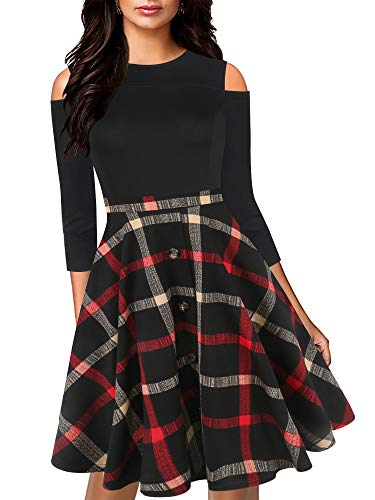 oxiuly Women's Chic Off Shoulder 3/4 Sleeve Plaid Patchwork Party Casual A-line Dress with Pockets OX266 (XL, BK-Redplaid7)