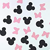 100 Counts Minnie Mouse and Bowtie Table Scatter / Paper Confetti for Baby Shower Kid's Birthday Party Supplies (Black and Pink)