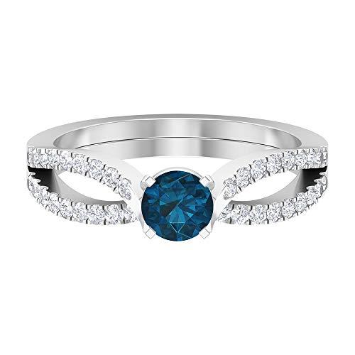 Piedra de nacimiento de diciembre - Anillo solitario de topacio azul Londres de 5,00 mm con diamante HI-SI, anillo de compromiso de dos tonos, 14K Oro blanco, topacio azul - london, Size:EU 53