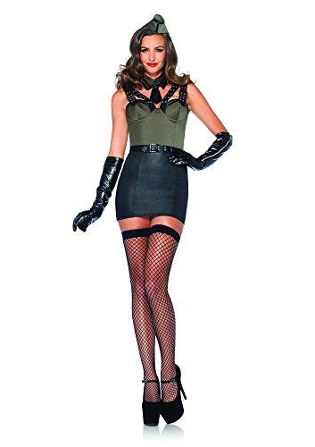 Leg Avenue 85300 - Major Bombshell Kostüm Set, 3-teilig, Größe L, grün