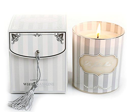 LA JOLIE MUSE Jasmine Scented Candles Soy Wax, 8 Oz 45 Hours Burn, Fine Home Fragrance, Gift for Her