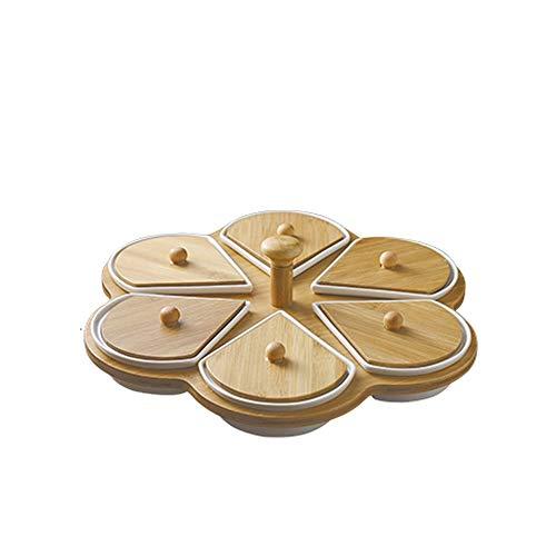 YUTRD ZCJUX Sechsfach Keramik-Platte, Tisch Lagerung Lebensmittel Teller, Obstteller und Besteck Dekoration