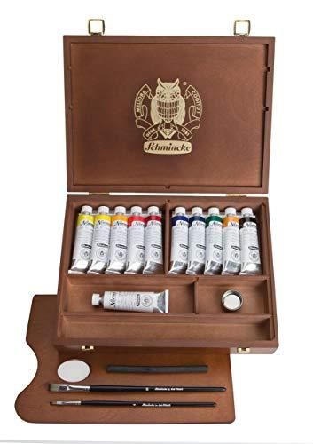 Schmincke 60ml Norma Norma Paintboxes scatola di legno scuro 10 x Tb. 35 ml + olio bianco 71.310.097
