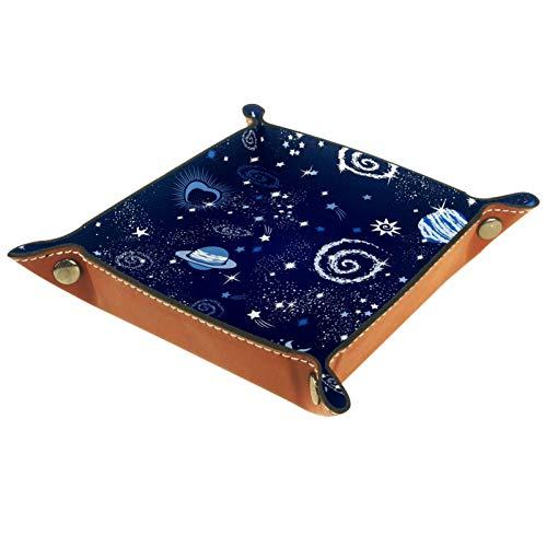 Bandeja de Valet Cuero para Hombres - Vía Láctea Sol Luna Estrella - Caja de Almacenamiento Escritorio o Aparador Organizador, Captura para Llaves,Teléfono,Billetera