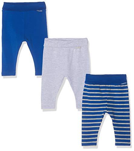 Playshoes Unisex Baby gestreift Grau im 3er Pack Leggings, Blau (Sortiert 999), 62 (Herstellergröße: 62/68)