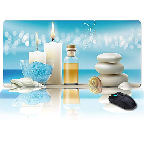 Mouse Pad 35x15inch Anti-Slip Mouse Mats Blue Aromatic Salt with Candle Stone and Conch Ergonomic Mats Gaming Mouse Pad for Computer Laptop Home Office
