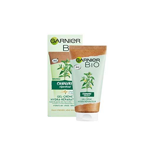 Garnier Bio - Gel-Crème Hydratant Visage - Au Chanvre Réparateur & Nourrissant - Vitamine E - Peaux Stressées & Sensibles - 50 ml