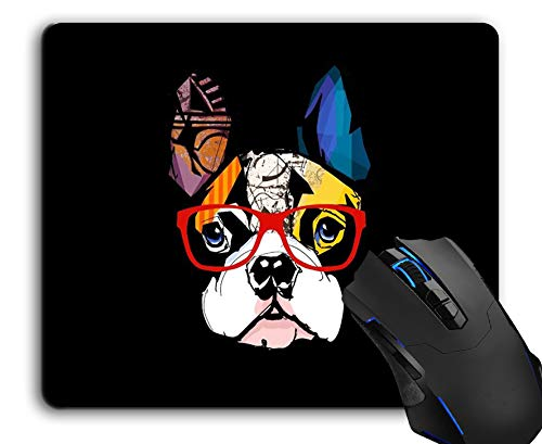 Mouse Pad,French Bulldog Wearing Sunglasses Computer Mouse Pads Desk Accessories Non-Slip Rubber Base,Mousepad for Laptop Mouse