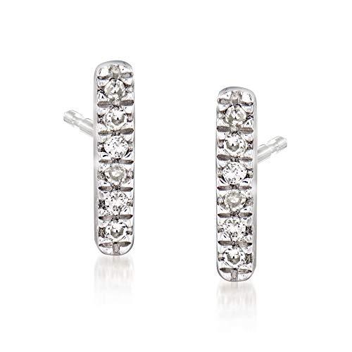 Ross-Simons Diamond-Accented Linear Bar Earrings in Sterling Silver For Women 925