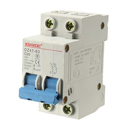 uxcell 2 Poles 20A 400V Low-voltage Miniature Circuit Breaker Din Rail Mount DZ47-63 C20