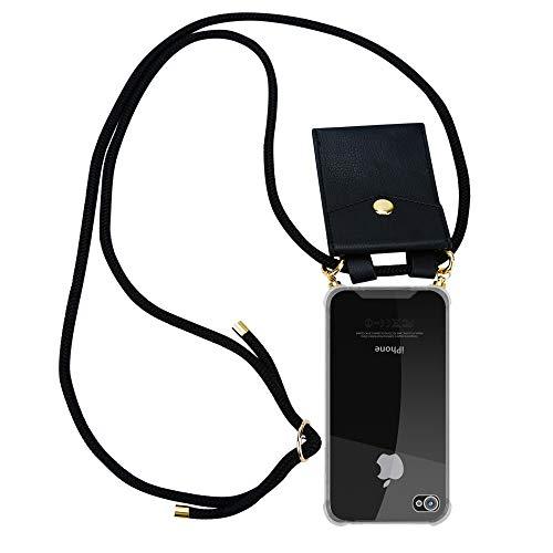 Cadorabo Handy Kette für Apple iPhone 4 / iPhone 4S in SCHWARZ – Silikon Necklace Umhänge Hülle mit Gold Ringen, Kordel Band Schnur und abnehmbarem Etui – Schutzhülle