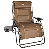 TIMBER RIDGE Oversized Zero Gravity Chair Padded Patio Lounger with Cup Holder Support 500lbs (Brown)