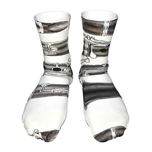 Socken für Erwachsene, Baumwolle, lange Strümpfe, schwarzer Absatz, dicke Socken, warme Socken, Unisex, 42 cm, die Klarinette