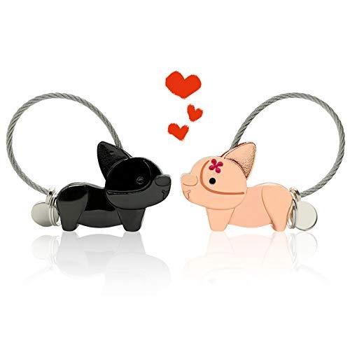 EQLEF Llaveros para Parejas, lindo llavero de perro Corgi con caja de regalo, aleación de aluminio, llavero para parejas, regalos para novio, novia, no magnético (negro y oro rosa)