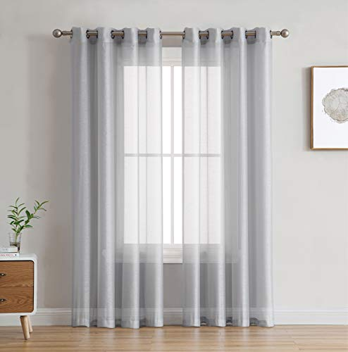 """HLC.ME 2 Piece Semi Sheer Voile Window Curtain Grommet Panels for Bedroom & Living Room (54"""" W x 84"""" L, Silver Grey)"""