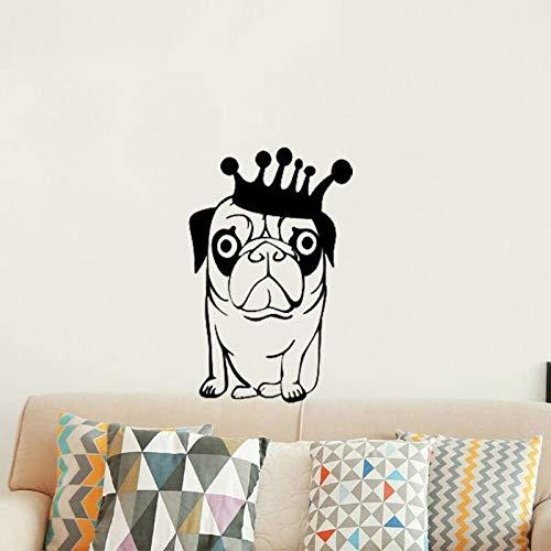 WERWN Pegatinas de Pared Calcomanía de Pared Divertido Cachorro Perro Etiqueta de la Pared Patrón de Corona Petshop Vinilo Ventana extraíble Decoración Moderna Arte Animal Mural 57 * 89cm