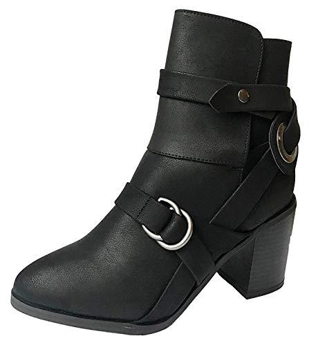 Womens dames kunstleer riem westerse stijl gepelde enkel zwart Slouch Biker Combat laarzen met midden blok hak & ronde teen voor werk schoenen formele jurk schoeisel Boot Maat 3 4 5 6 7 8